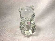 "Fenton Glass Birthday  Bear  June  with Heart Original Box and Tag 3 1/2"""