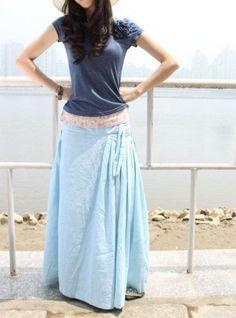Fairy Light Blue Low Waist Long Maxi Skirt - NC058. $63.99, via Etsy. (Sophiaclothing)