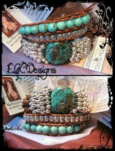 "Leather Triple Wrap ""Turquoise Focal"" Bracelet  www.eyegotchacovered.info  #EGCdesign #BohoChic #SouthwestInspired #Love #Peace #Healing #Calmness #LeatherJewelry #EyeGotchaCovered #DesignYourOwnLife #SupportYourLocalArtists"