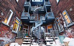 A Snowy backyard somewhere on the Plateau Mont-Royal, Montreal, Canada Mont Royal Montreal, Montreal Ville, Montreal Quebec, Quebec City, Ottawa, Montreal Architecture, Destinations, Belle Villa, Building Structure