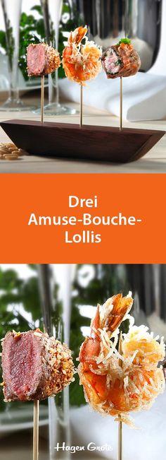 Drei Amuse-Bouche-Lollis