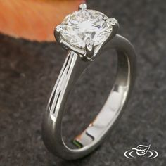 Design Your Own Unique Custom Jewelry at Green Lake Jewelry Works! Custom 4 prong platinum setting with cathedral solid shank