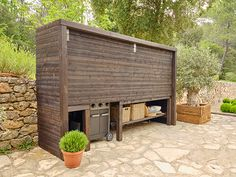Outdoor Kitchen Patio, Outdoor Pergola, Outdoor Kitchen Design, Outdoor Living, Backyard Fireplace, Backyard Bar, Backyard Patio Designs, Barbacoa Jardin, Bbq Shed