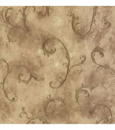 Ithaca Gold Scroll Wallpaper Sample