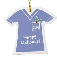 """""""Happy Holidays 2014"""" Solid Scrub Top Porcelain Ornament"""