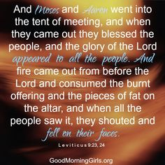 And Moses and Aaron went into the tent of meeting, and when they came out they…