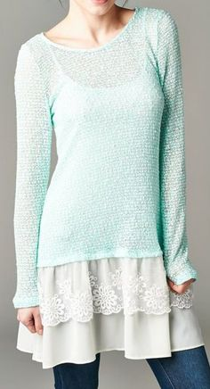 Kate Pullover in Aspen Mint  I really like the undershirt of this outfit!