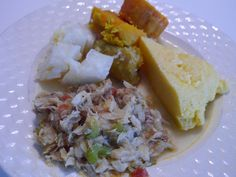 Heri Heri (Surinam dish) with Kabiljauw fish and Funchi (Caribbean dish)
