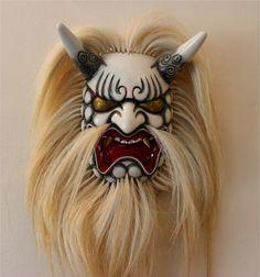 Japanese Noh Theater mask-Demon-Daikijin Wooden Mask Japanese Theatre-Samurai-Geisha
