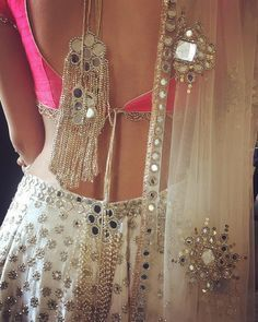 Oh would you look at this back. What a gorgeous white pink mirror lehenga choli by Abhinav Mishra #Frugal2Fab