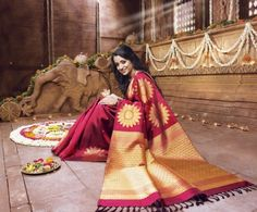 Wine red Wedding sarees