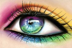 eye make up Pretty Eyes, Cool Eyes, Beautiful Eyes, Rainbow Eyes, Rainbow Colors, Crazy Eyeshadow, Mermaid Eyes, Eye Pictures, Fantasy Pictures