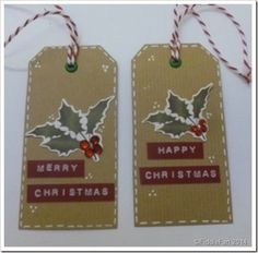 Kraft Christmas tags with holly and dymo tape