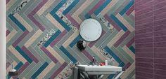 Aria Lake + Sage + Ametista + Taupe 4x20. Decor pieces special order only. #domceramiche Bathtub Surround, Tile Projects, Porcelain Tile, Floor Mats, Wall Tiles, Sage, Flooring, Ceramics, Decor
