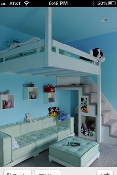 Loft bed, with enough room for the crib below