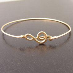 Music Bracelet Music Jewelry GClef Bracelet by FrostedWillow, $16.95