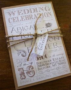 Rustic Vintage Chic Wedding Invitation with by CCPrintsbyTabitha
