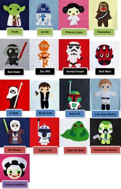 Awesome Felt Characters for shirts, toy bins, pillow cases, or whatever else you would desire to put them on....