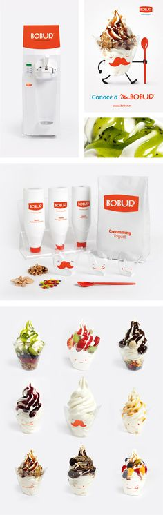 Bobur is not only the creamiest frozen yogurt of the market. Neither the smallest machine in the world offering this product. Bobur is a fun experience, and that's what we wanted to reflect in its identity. The concept of naming and corporate image, appli…