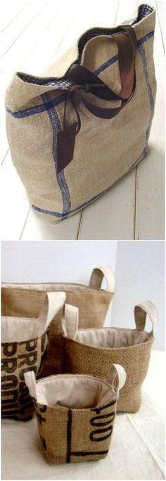 Need a lining in my burlap bag. Burlap Bags, Jute Bags, Hessian, Burlap Projects, Diy Purse, Linen Bag, Basket Bag, Fabric Bags, Bag Making
