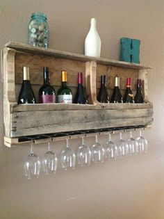 another-rustic-pallet-wine-rack-with-glasses @VinoPlease #VinoPlease