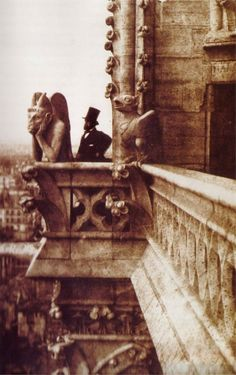 """""""The Vampire"""". Photo of Henri Le Secq standing next to a gargoyle at the Notre-Dame Cathedral, Paris, by Charles Nègre; Old Pictures, Old Photos, Vintage Photos, Vintage Photography, Art Photography, Outdoor Portrait, Vintage Paris, Belle Epoque, In This Moment"""