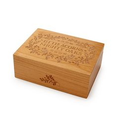 Yvonne Leung's keepsake boxes are handmade from sustainable alder wood, then laser etched with the phrase and a lovely oak-leaf-and-acorn motif.