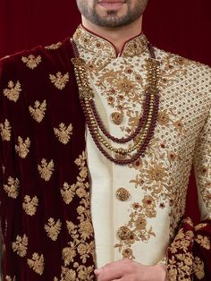 Raw silk cream hue designer indo western - G3-MIW5814 | G3fashion.com Sherwani For Men Wedding, Wedding Dresses Men Indian, Wedding Outfits For Groom, Groom Wedding Dress, Sherwani Groom, Bridal Outfits, Wedding Wear, Wedding Suits, Wedding Attire