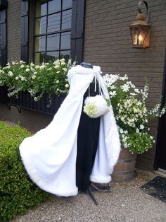 Bridal cape 52-54 inch wedding cloak White / White Satin with fur trim Handmade in USA, $149.00