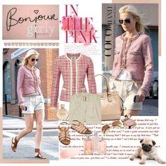 Brown skirt or shorts, pink tweed jacket, heels