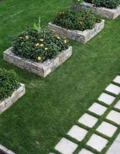"""Grass joints between pavers make stone much more palatable. Stone feels dead. The key to getting grass joints to grow lush and pillowy is to dig deep. Under the pavers you need to lay a solid underpinning of stone dust and gravel. After it's hardened a little, come back and dig out the joints, about 6"""", and then pack in topsoil and sod higher than you think you need to—it compacts. You will get die-back from the heat of the stones, but if you water well, the grass in the joints will…"""