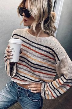 Drops Design, Striped Knit, Pullover Sweaters, Knitwear, Autumn Fashion, Sweaters For Women, Casual Sweaters, Cute Outfits, Fashion Outfits