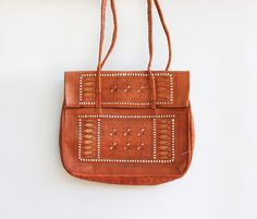 Vintage Moroccan Embroidered Leather Bag by redpoppyvintageshop, $38.00