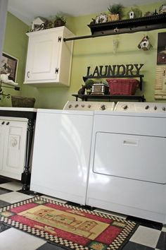 Like this idea for the laundry room. Who would have thunk to put a clothes rod between two cabinets?