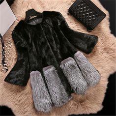 Womens-Winter-Warm-Crewneck-Outwear-Faux-Fox-Fur-Jacket-Coat-Luxury-Black-Style