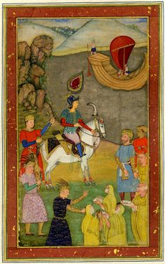 A group of ascetics presenting fish to Iskandar.From the Iskandarnáma in the Xamsa of Ni? Painted on paper. © The Trustees of the British Museum Mughal Empire, British Museum, Indian Art, Literature, Objects, Miniatures, Gallery, Paper, Fish