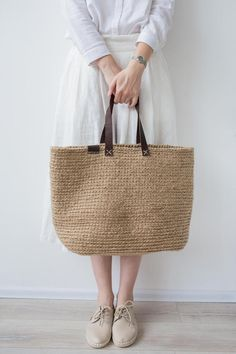 Items similar to Large Beach Bag, Crochet Shopping Bag by POLE Homeware on Etsy Large Beach Bags, Crochet Shoulder Bags, Bag Making, Purses And Bags, Shopping Bag, Reusable Tote Bags, Trending Outfits, Leather, Dress Shoes