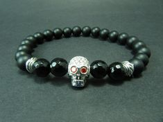 Onyx & Silver Skull Bracelet Mens Mala Bracelet by GreenPalace