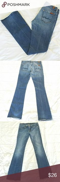 SALE For All Mankind Jeans Original Boot Style Very cool 7 For All Mankind Jeans. Great condition maybe a little fraying on the bottom. Original price about 200. 7 For All Mankind Jeans Boot Cut