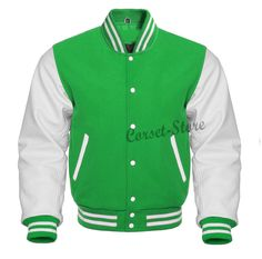Varsity Letterman Kelly Green & White Jacket in Wool and Genuine Leather Sleeves. Total 5 Pockets, 1 Mobile Pocket, Heated Lining Only the softest, most durable the best wool for the body and the softest wool knit for the collar, 100% high quality genuine leather. Authentic Genuine Leather Sleeves. Bush Buttons.