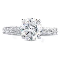 Annello 14k White Gold 1 1/2ct TGW Moissanite and Antique Diamond Engagement Ring (G-H, I1-I2)
