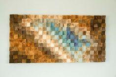 Arte mosaico de madera arte geométrico de la pared de madera