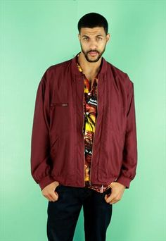 Maroon Silk Bomber Jacket size large available now at our @asosmarketplace boutique #bomber #menswear #silk