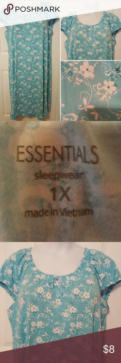Simple aqua blue floral sleepwear Elastic scooped neckline with tie front, cap short sleeves,  100% cotton,  lightweight,  very comfy. Size: 1X  by Essentials Essentials  Intimates & Sleepwear Pajamas