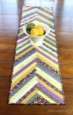 """~free pattern~ Herringbone (braided) table runner, 14 x 54"""", by Karin Jordan at Leigh Laurel Studios"""