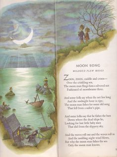 """garth williams tall book of make believe - """"Moon Song"""" Nursery Rhymes Poems, Garth Williams, Kids Poems, Preschool Poems, Nostalgia, Poetry For Kids, Pomes, Rhymes For Kids, Man On The Moon"""