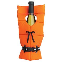 This decorative wine bottle cover is made of polyester with a plastic clip. A great way to gift a bottle of wine, this little life vest also makes a cute decoration for wine left on the counter.