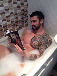 This pin is amazing on SO many levels! Hot guy. Hot guy with tattoos. Hot guy in the bathtub. Hot guy reading. Ladies & Gentlemen...We have a winner! ♊️ •Stuart Reardon•