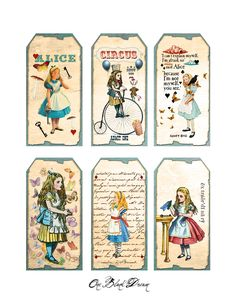 One Blank Dream: Free Alice In Wonderland Tags Digital Collage Sheet Alice In Wonderland Printables, Alice In Wonderland Tea Party, Alice In Wonderland Clipart, Alice In Wonderland Vintage, Alice Tea Party, Mad Hatter Tea, Mad Hatters, Pocket Letters, Vintage Labels