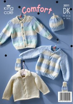 crochet baby mittens Cardigan, Sweaters, Hat and Mittens in King Cole Comfort DK - 3011 -